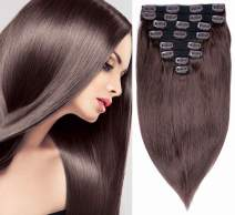 Clip in Human Hair 14 Inch 110g 100% Real Remy Hair Extensions 8 Pieces 20 Clips Strong Double Weft Straight Hair for Women (2# Dark Brown)