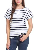 Women's Short Sleeve Striped T-Shirt Tee Shirt Tops Casual Loose Fit Blouses(Large,T1-Navy White)