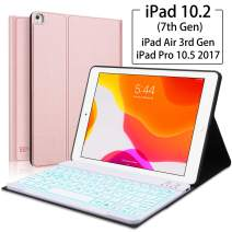 """iPad Keyboard Case for iPad 10.2(7th Generation)- iPad Pro 10.5 (Air 3) - 7 Colors Backlight, Magnetically Detachable Wireless Keyboard - Folio Cover for New iPad 10.2"""" Inch, Rose gold"""