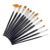 Dxhycc 12pcs Nylon Hair Paint Brush Set Artist Watercolor Acrylic Oil Painting Supplies