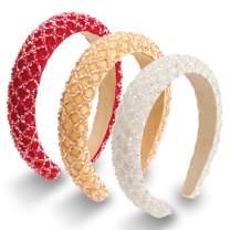 3 Piece Rhinestone Headbands Crystal Diamond Padded Wide Headband Headwear Glitter Crystal Embellished Hairbands Hair Accessories for Women Girls Party Wedding (Champagne, White, Red)