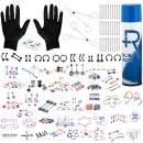 BodyJ4You 156PC Body Piercing Kit Aftercare Spray 14G 16G Belly Ring Tragus Random Mix Jewelry