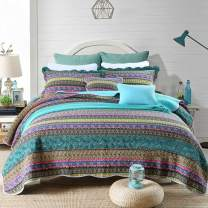 mixinni Boho Style Stripe Blue Quilted Throw Blanket Soft Cotton Reversible Light Weight Air-Conditioning,All Season Sofa/Bedding/Couch