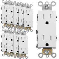 Fosmon [UL Listed] Tamper Resistant Decorative Duplex Receptacle Outlet (10 PACK), Residential Grade, 15A 125V with Self-Grounding Clip, Thermo-Resistant Material Wall Plug, 3 Wire, 2-Pole, TR - White