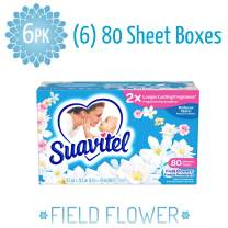 Suavitel 139167 Fabric Softener Dryer Sheets, Field Flowers, 80 Count (Pack of 6)