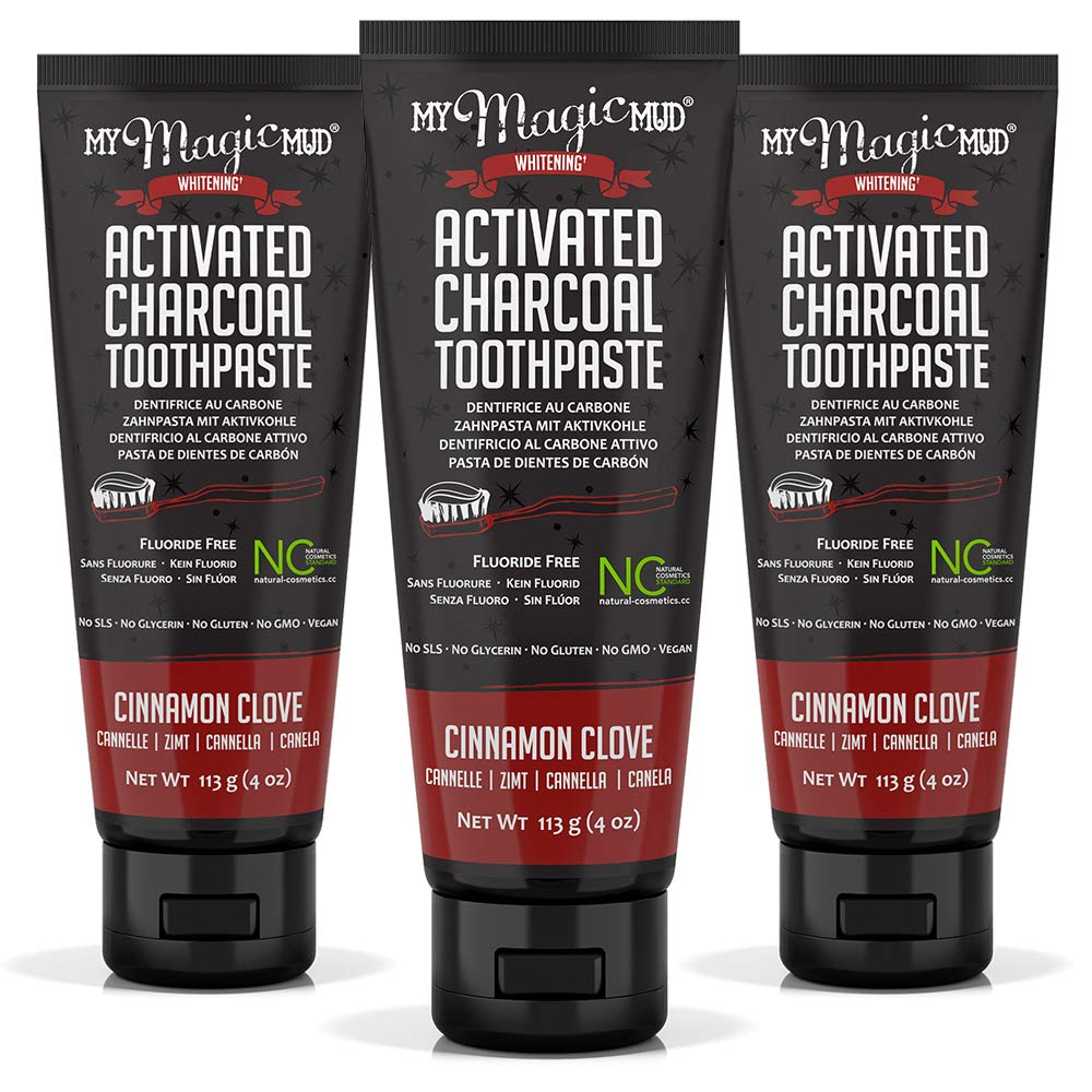 My Magic Mud Charcoal Teeth Whitening Toothpaste, Verified Enamel Safe & Clinically Proven, Organic Coconut Oil, Essential Oils, Best Natural Whitener, Fluoride-Free, Vegan, Cinnamon 3-pack (4oz)