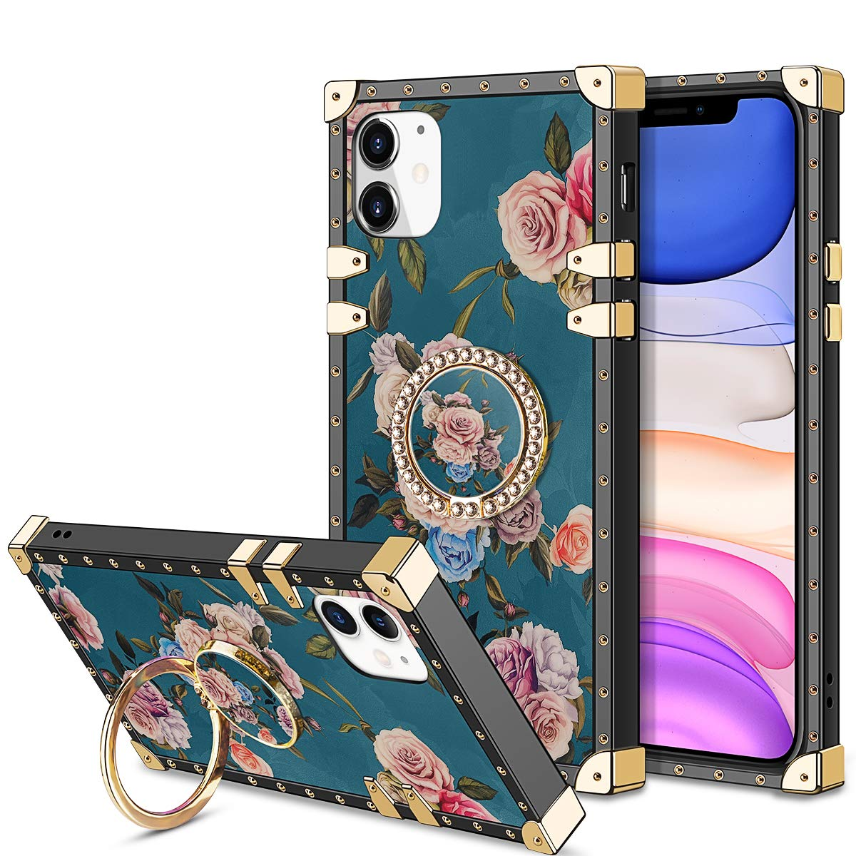 HoneyAKE Case for iPhone 11 Case with 360 Degree Rotation Ring Stand Holder Floral Flower Elegant Soft TPU Reinforced Corner Shock-Absorbing Protective for iPhone 11 6.1 inches, Peony