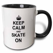 3dRose Keep Calm Funny Skateboarding ice Skater or Roller Skating Gifts Mug, 11 oz, Black