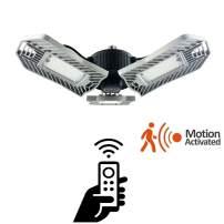 80W Motion Activated LED Garage Lights, Adjustable Trilights Garage Ceiling Lighting, High Bay Deformable LED Corn Light Bulbs with Motion Sensor 8000LM 6000K, HID HPS Metal Halide Lamps 300W Equiv.
