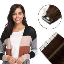 Tape in Hair Extensions Dark Brown 100% Remy Human Hair 12''-24'' Double Side Tape Seamless Skin Weft Rooted Tape on Natural Hair Extensions 20pcs Long Straight Silky 20 inch 50g