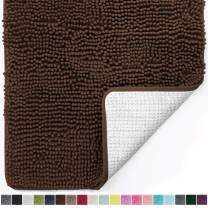 Gorilla Grip Original Luxury Chenille Bathroom Rug Mat, 48x24, Extra Soft and Absorbent Shaggy Rugs, Machine Wash and Dry, Perfect Plush Carpet Mats for Tub, Shower, and Bath Room, Brown