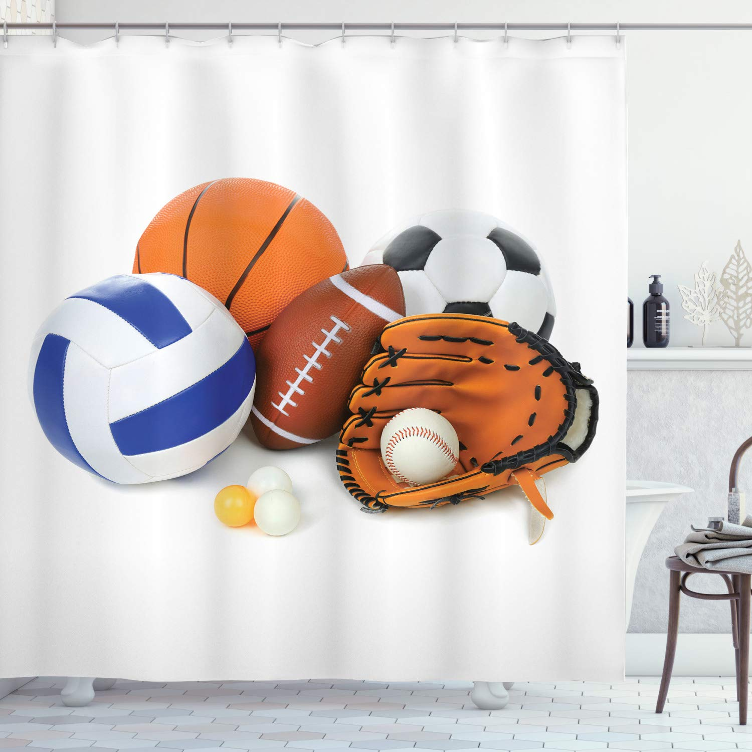 """Ambesonne Sports Shower Curtain, Many Different Sports Balls All Together Championship Ping Pong Volleyball Olympics, Cloth Fabric Bathroom Decor Set with Hooks, 75"""" Long, Orange"""