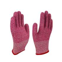 Level 5 Cut Resistant Work Gloves Kitchen Use Crafts DIY Garden Yard works. Children Food Grade Kevlar Safety Gloves Hand Protection from knives and Scissors Durable Power Grip Foam Nit (M, Pink)