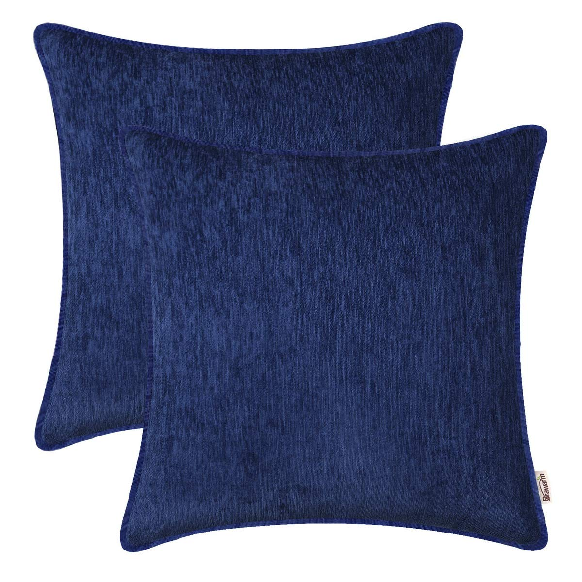 BRAWARM Pack of 2 Cozy Throw Pillow Covers Cases for Sofa Couch Home Decoration Solid Dyed Striped Soft Chenille with Piping 16 X 16 Inches Navy Blue