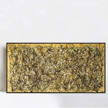 """INVIN ART Framed Canvas Giclee Print Art One Number 31, 1950 by Jackson Pollock Wall Art Living Room Home Office Decorations(Black Slim Frame,20""""x40"""")"""
