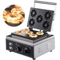 "VBENLEM 110V Commercial Donut Machine Plum Flower 5 Holes Double-Sided Heating 50-300℃, Electric Doughnut Maker 1500W, Non-stick Waffle Iron Teflon-Coating Professional Kitchen (Depth:0.55"",Dia:2.95"")"