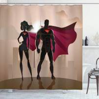 "Ambesonne Superhero Shower Curtain, Super Woman and Man Heroes in City Solving Crime Hot Couple in Costume, Cloth Fabric Bathroom Decor Set with Hooks, 75"" Long, Beige Brown"