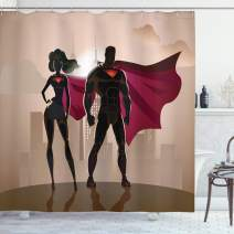 "Ambesonne Superhero Shower Curtain, Super Woman and Man Heroes in City Solving Crime Hot Couple in Costume, Cloth Fabric Bathroom Decor Set with Hooks, 84"" Long Extra, Beige Brown"