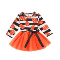 Happy Town Toddler Baby Christmas Outfits Kids Girls Deer Print Long Sleeve Dress Striped Skirts Christmas Dress