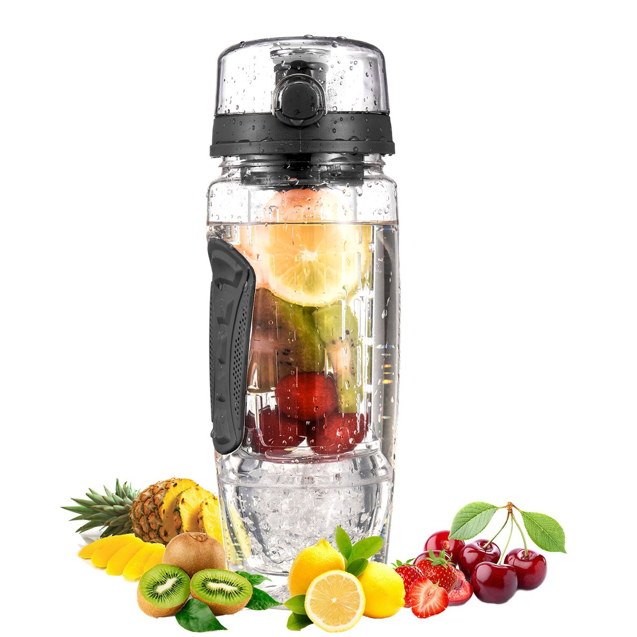 OMORC Fruit Infuser Water Bottle, 32OZ BPA-free Tritan Sport Bottle with Gel Freezer Ball, Removable Infusion Rod, Leakproof Flip Top Lid, Fruit Recipes and Cleaning Brush for Sports, Camping and Home