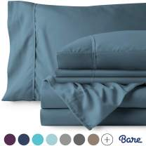 Bare Home 6 Piece 1800 Collection Deep Pocket Bed Sheet Set - Ultra-Soft Hypoallergenic - 2 Extra Pillowcases (Queen, Coronet Blue)