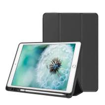 MOSISO iPad 10.2 inch Case, PU Leather Slim Fit Smart Stand Book Folio Protective Tablet Cover with TPU Back Bumper & Pencil Holder Compatible with 2019 iPad 7th Gen. (A2197/A2198/A2200), Black