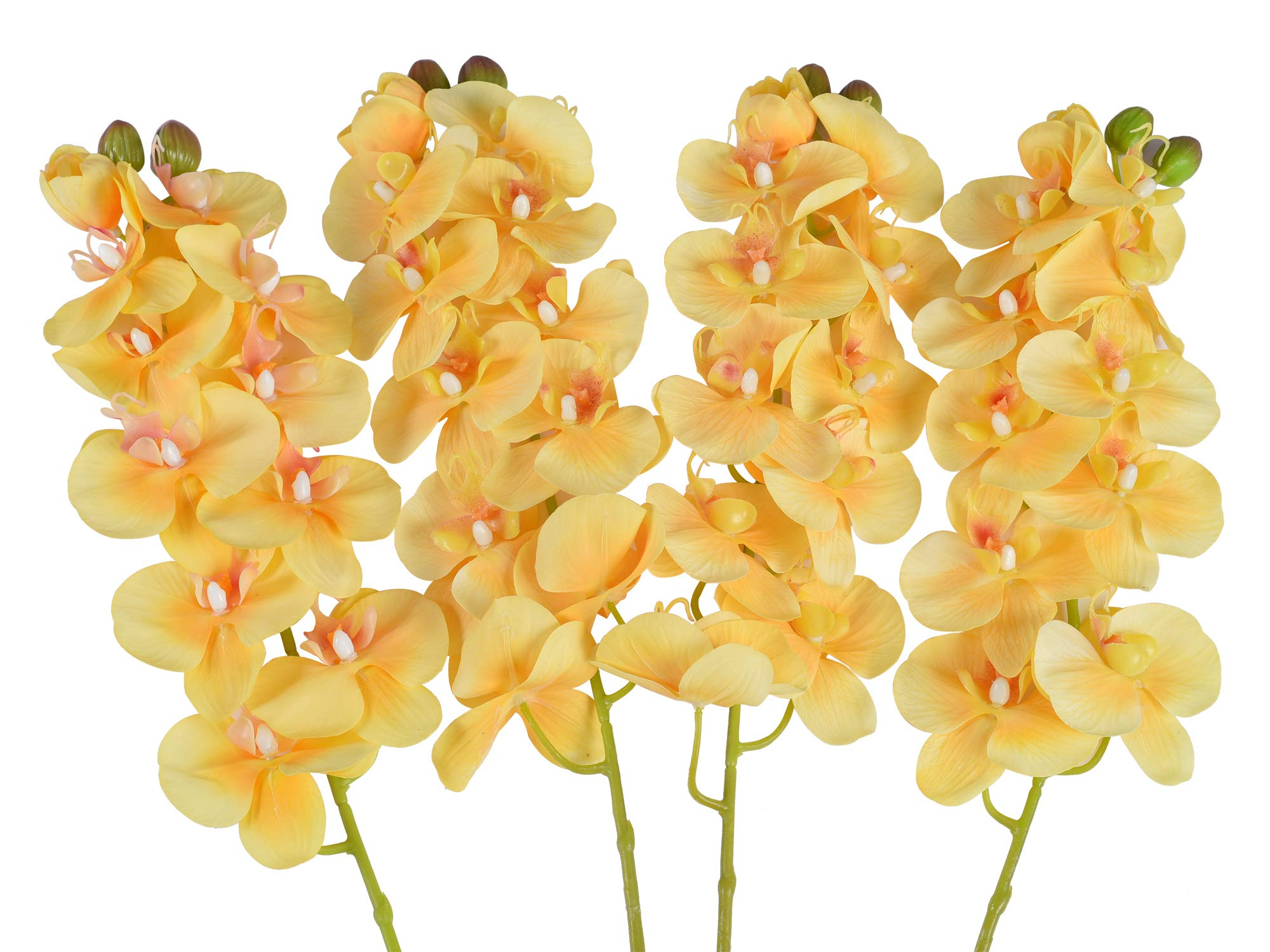 Ivalue 4 Pack Fake Orchid Stems Real Touch Butterfly Phalaenopsis Flowers 11 Heads Artificial Orchid Flowers Yellow for Home Decoration (4, Yellow)