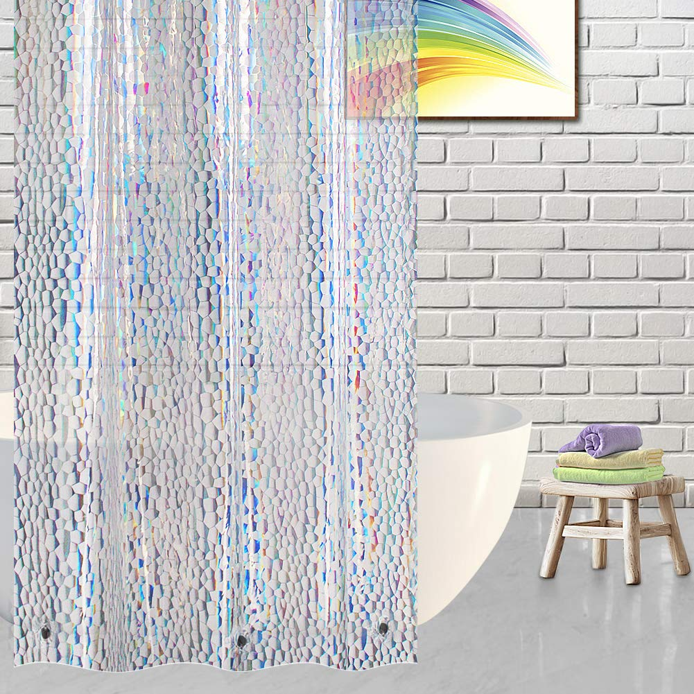VCVCOO Stall Shower Curtain or Liner 36 x72 inch, 3D Colorful Cube EVA Semi-Transparent Shower Curtain Liner Waterproof,Eco-Friendly Bath Curtain with 2 Bottom Magnets
