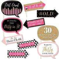 Big Dot of Happiness Funny Chic 30th Birthday - Pink, Black and Gold- Birthday Party Photo Booth Props Kit - 10 Piece