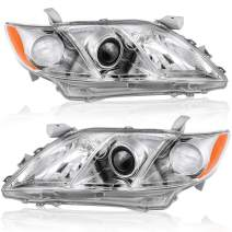 OEDRO Headlight Assemblies Compatible with 2007-2009 Toyota Camry, with Amber Refector and Clear Lens, Projector Headlamps, Chrome Housing (Driver & Passenger Side)