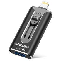 USB Flash Drive 128G, USB Memory Stick 128GB iPhone Flash Drive for iPhone X XR XS MAX, Jump Drive Thumb Drive 3.0 Flash Drive Ready for iPhone 6/iPhone 7/iPhone 8/iPad/Android and Computer (Black)