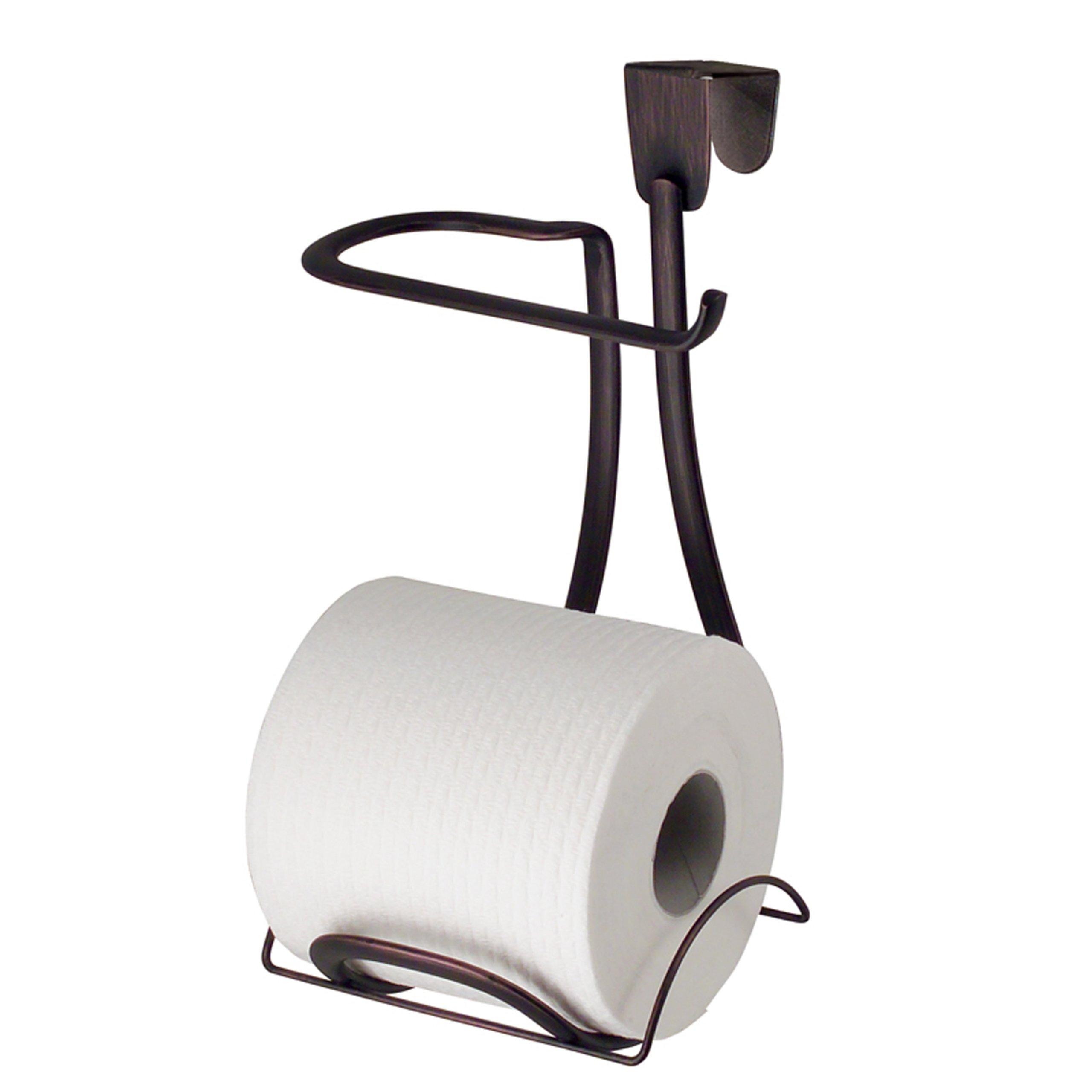 "iDesign Axis Metal Toilet Paper Holder, Over the Tank Tissue Organizer for Bathroom Storage, 6"" x 6.2"" x 11"", Bronze"