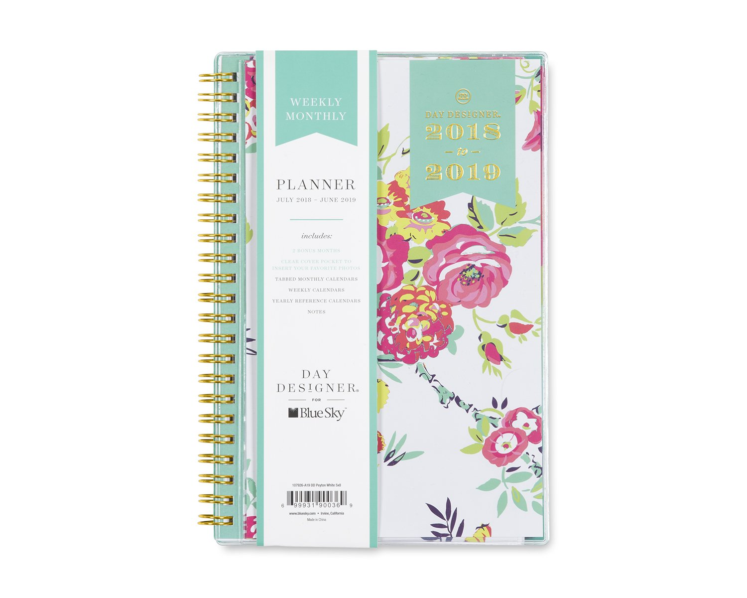 """Day Designer for Blue Sky 2018-2019 Academic Year Weekly & Monthly Planner, Flexible Cover, Twin-Wire Binding, 5"""" x 8"""", Peyton White Design"""