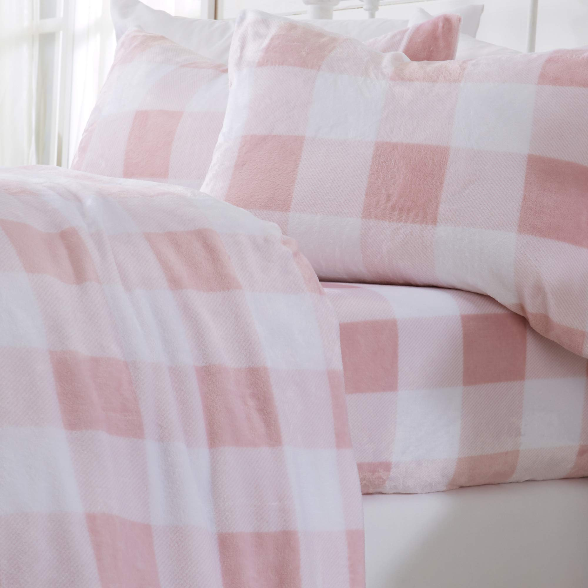 Great Bay Home Extra Soft Cozy Velvet Plush Sheet Set. Deluxe Bed Sheets with Deep Pockets. Velvet Luxe Collection (Queen, Buffalo Check - Blush Pink)