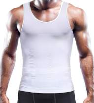 RIBIKA Mens Compression Shirt Slimming Body Shaper Vest Workout Tank Tops Tummy Control Undershirts