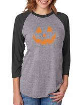 Pumpkin Women Halloween Shirt Jack O' Lantern Face 3/4 Sleeve Baseball Jersey