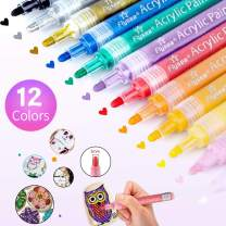 Acrylic Paint Pens, l'aise vie Acrylic Paint Marker Pens for Rock Painting, Wood, Metal, Plastic, Glass, Paper, Canvas, Fabric, Mugs, Scrapbooking Craft, Card Making (3 mm tip, 12 Colors)