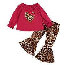 Toddler Baby Girls Leopard Clothes Long Sleeve Love Shirt Bell-Bottomed Pants Set 2Pcs Outfits