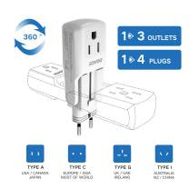 DOACE 10A Travel Adapter with 3 AC Outlets, All in One International Power Adapter Plugs for UK, EU, AU, Asia 190+ Countries, Light, Compact Size Wall Charger Adaptor for Cell Phone, Camera, Laptop