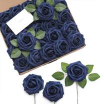 """Ling's moment Rose Artificial Flowers 25pcs Realistic Fake Roses w/Stem for DIY Wedding Bouquets Centerpieces Bridal Shower Party Home Decorations (Navy Blue, 25pcs Regular 3"""")"""