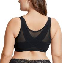 DELIMIRA Women's Full Coverage Posture Corrector Front Closure Wireless Back Support Bra
