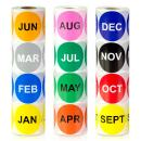 """2"""" Round - 3600 Labels Bundle 12 Months of The Year Labels Color Coding Dot Round Self Adhesive Stickers - 1 Roll Each / 300 Labels per Package"""