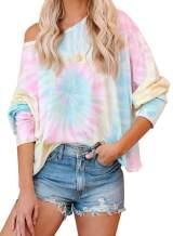 Aleumdr Women's Casual Tie Dye Printed Long Sleeve Pullover Sweatshirt Casual Loose Tunic Tops