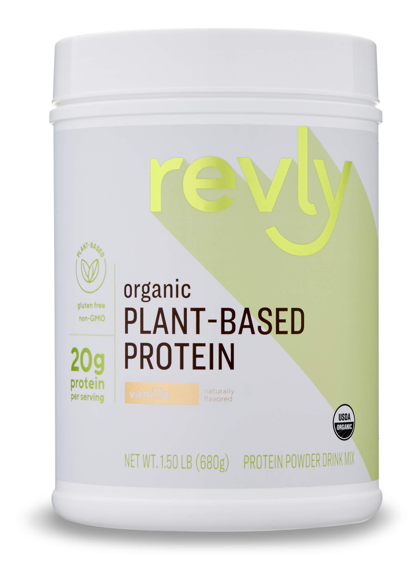 Amazon Brand - Revly Organic Plant-based Protein Powder, Vanilla, 1.5 Pound (19 Servings)