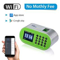 Time Clocks for Employees Small Business, Desktop Wi-Fi Biometric Fingerprint Time Attendance Terminal Clock Machine with Battery, Office Punch Clock in with APP for iOS/Android (0 Monthly Fees)