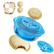 Falluk Uncrustables Sandwich Cutter and Sealer - 6 Pieces Uncrustable Decruster Sandwich Maker - Round Crust Sandwich Cutters for Kids - Great for Bread Cut in Lunch Box and Bento Box, Blue
