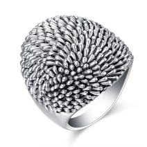 Mytys Vintage Silver Dome Statement Rings Antique Wide Ring for Women's Band Rings