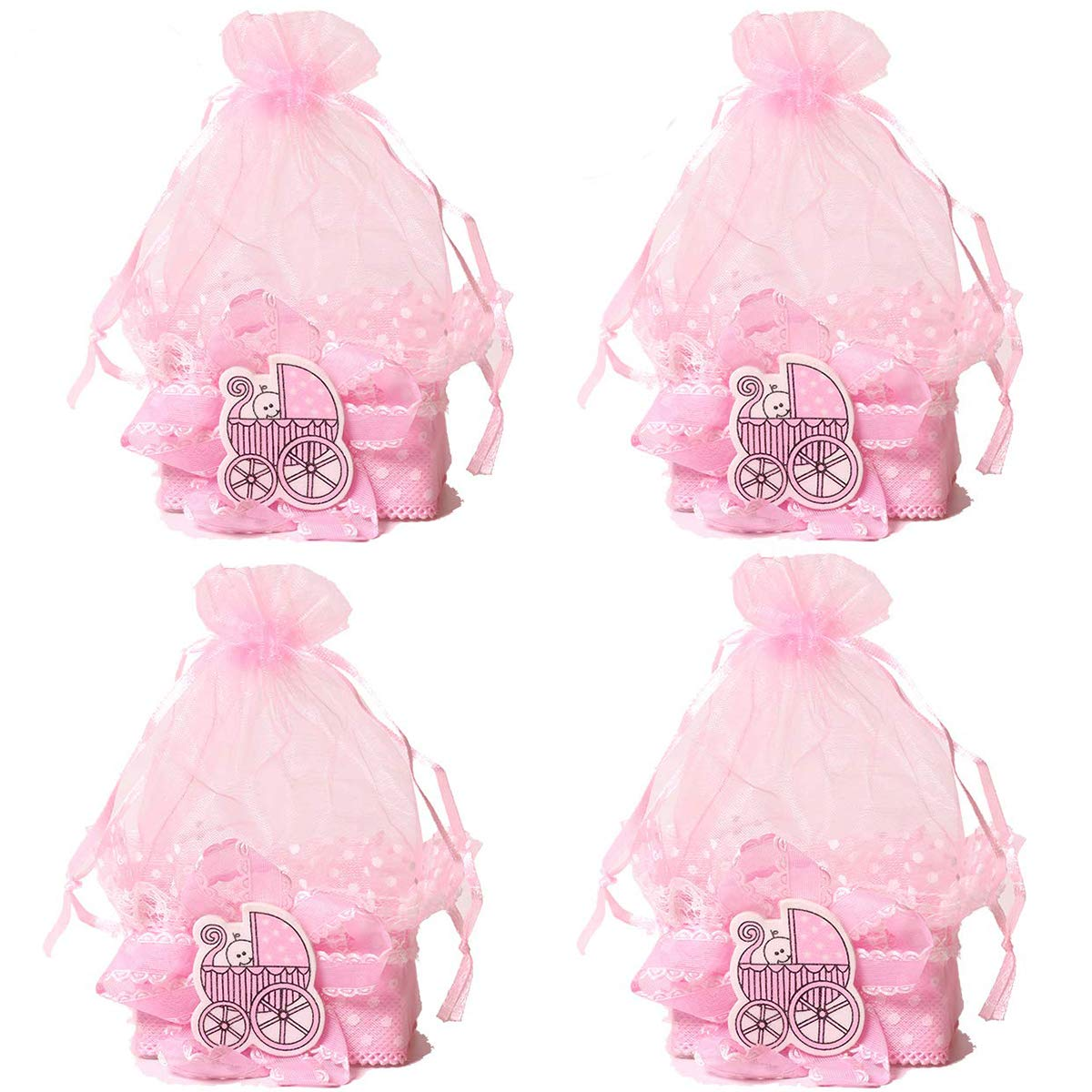 12 Pack Pink Baby Shower Candy Bags Candy Favors Bags, Mini Drawstring Organza Candy Basket for Baby Girls' Shower Birthday Party Gift Bags
