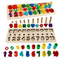 Sendida Kids Wood Sorting Puzzles Toys Shape Sorter Number and Math Stacking Blocks Toddlers Learning Toys Gift, Montessori Toys for Toddlers, Preschool Teaching, Early Education Toy