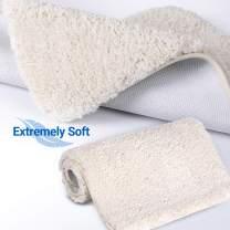 Bathroom Rugs Thick Microfiber Bathroom Fluffy Rugs Plush Bath Rugs Non-Slip Water-Absorbent Machine Washable Shaggy Bathroom Rugs,16 x 24 inches,Beige